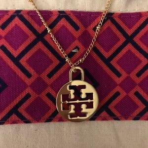 Tory Burch Gold Logo Charm Necklace (NWOT).